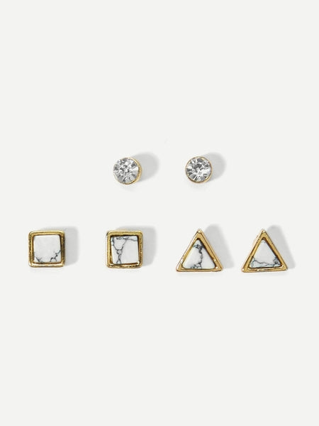 Geometric Stone Stud Earrings 6pcs