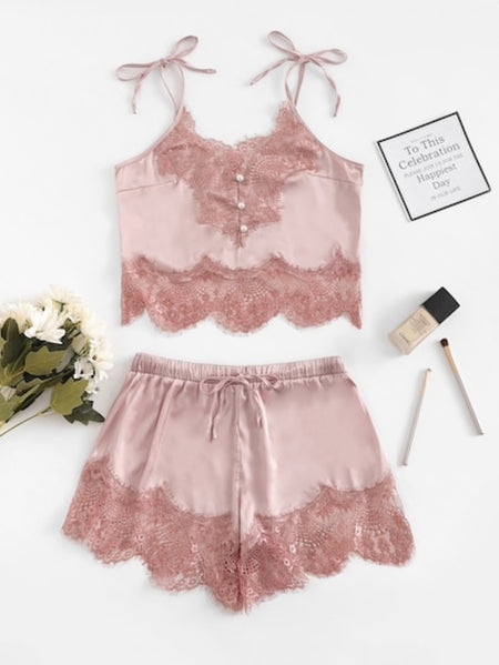 Scallop Trim Eyelash Lace Lingerie Set