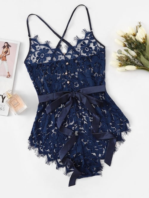 Criss Cross Eyelash Floral Lace Teddy Bodysuit