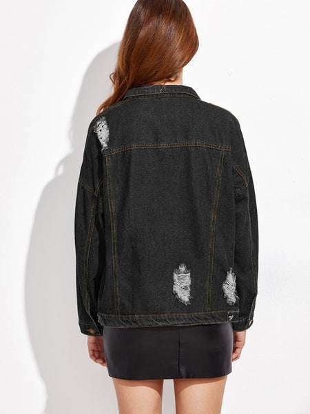 Ripped Drop Shoulder Stitch Detail Denim Jacket