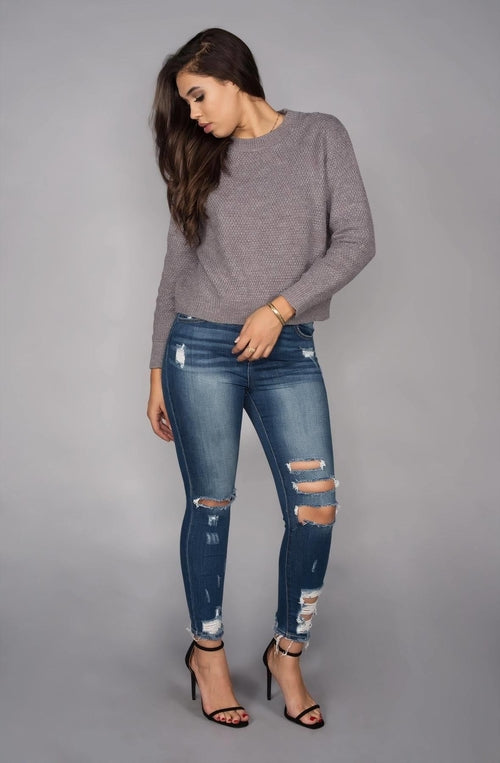 High-Rise Dark Skinny Jeans w/ Distressed Hem