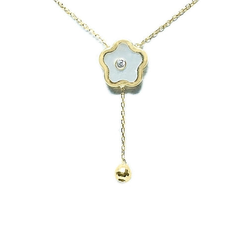 14k Yellow Gold Mother of Pearl Flower Pendant