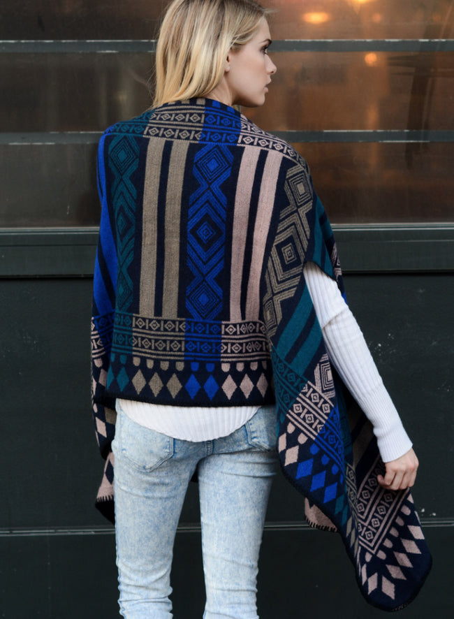Deja Royal Blue Mix Geometric Poncho Clothing