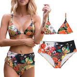 Beautiful Women Flowers High-waisted Bikini Set