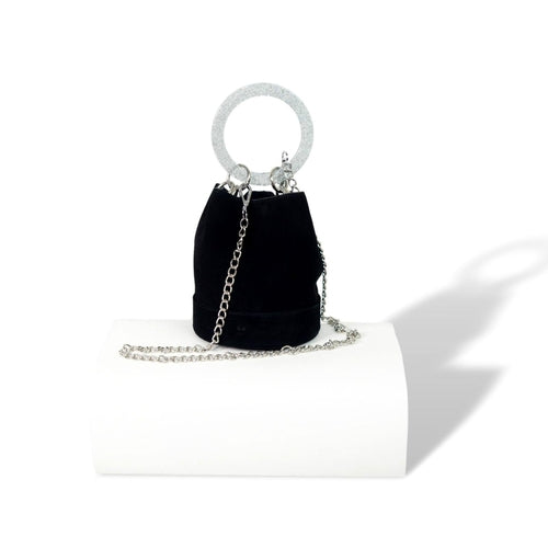 Black Women's Leather Handbags With Bracelet