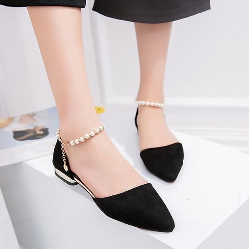 Flat Beaded Ankle Shoes