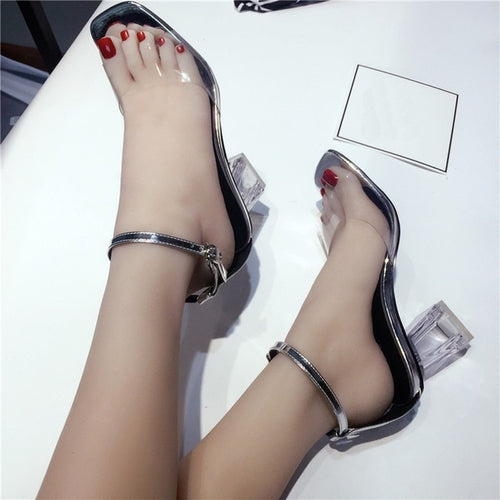 Transparent Heeled Sandles