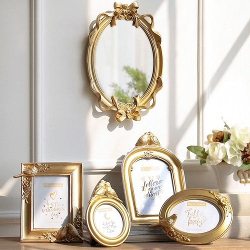 Gold Photo Frame Round Oval