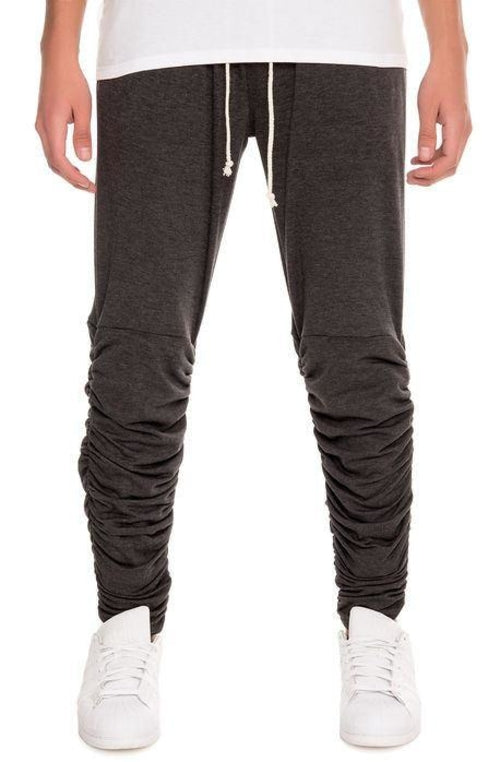 Santos Rouched Leg Jogger Sweats in Onyx