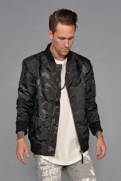 Tonal Fatigue Bomber Jacket (Black)