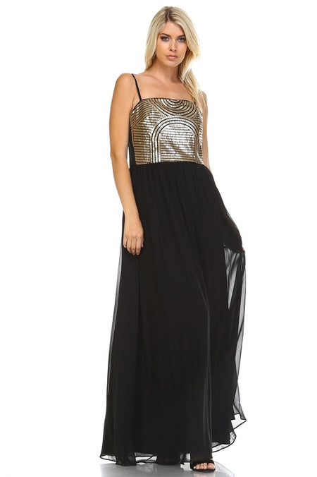 Embellished High Low Evening Gown