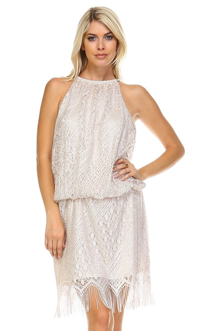Women's Beaded Neckline Chiffon Dress
