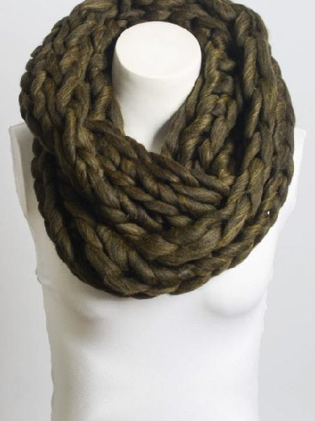 Ultra-Soft Olive Chunky Infinity Scarf Clothing