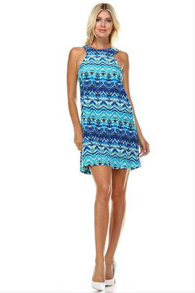 Printed V-neck Waist Tie Dress