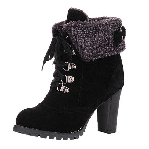 Winter Lace-Up High Thick Short Boots
