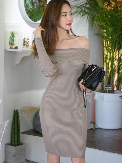 Dark Khaki Slash Neck Women's Sweater Dress