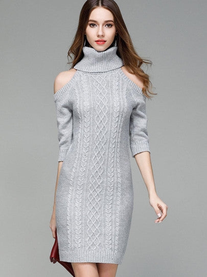 Turtle Neck Cold Shoulder Women's Sweater Dress