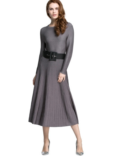 Plain Round Neck Women's Sweater Dress