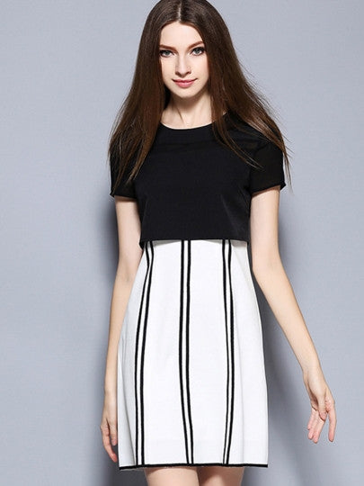 Double-Layered Striped Women's Day Dress
