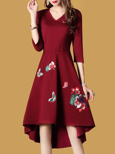 Embroidery Asym Half Sleeve Women's Day Dress
