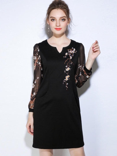 Embroidery Black Pockets Women's Day Dress