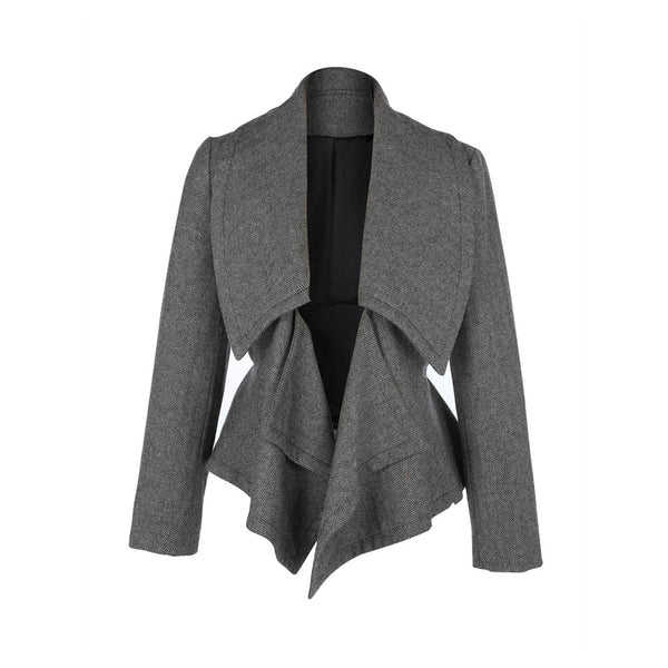 Grey Sash Turtleneck Polyester Bomber Jacket
