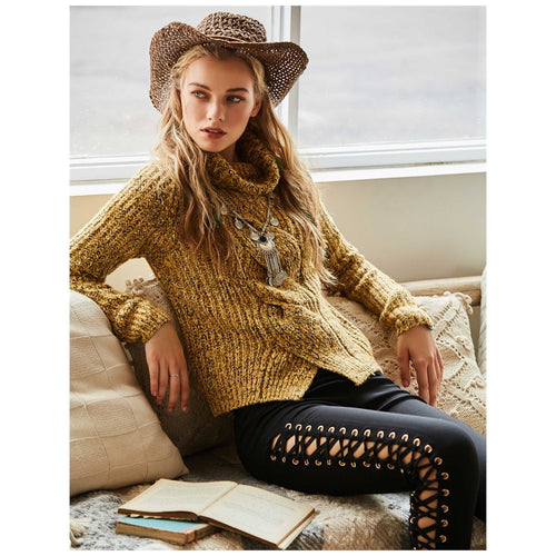 Solid Color Yellow Knitted Top