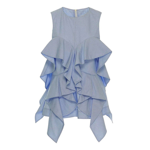 Peter Pan Collar Sleeveless Blue Day Top