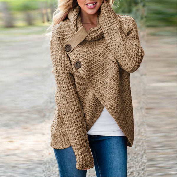 High Neck Loose Split Sweater