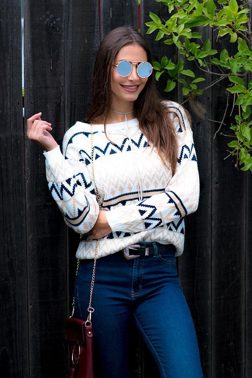 Geometric Two-Toned Crewneck Knit Sweater