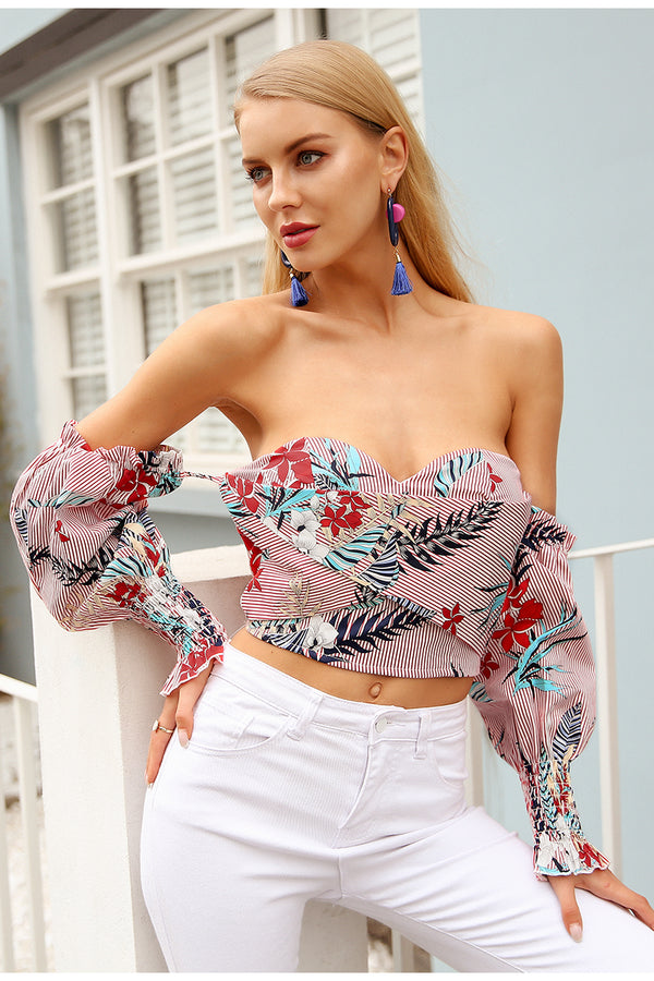 Off The Shoulder Lantern Sleeve Print Crop Top
