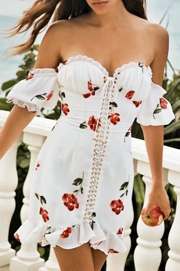 Off The Shoulder Floral Lace Up Mini Dress