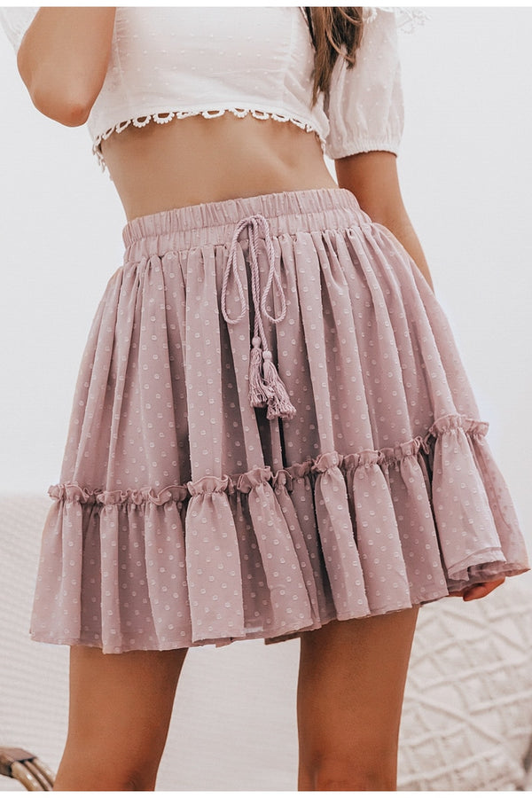 High Waist Ruffle Mesh Skirt