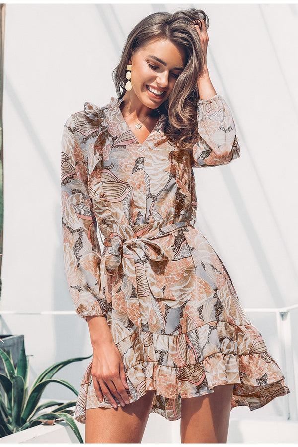Elegant Floral Print Long Sleeve Ruffle Satin Mini Dress