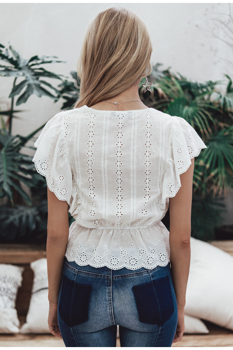 Paradise Embroidery Ruffle V Neck Top