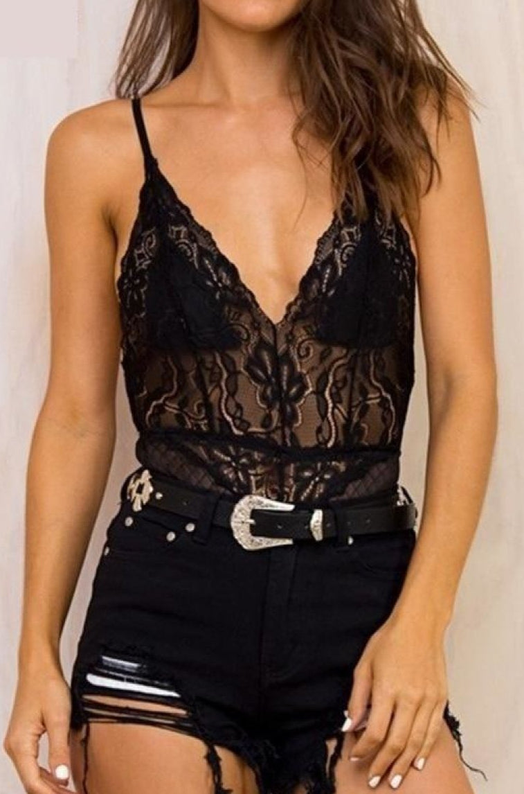 Deep V-Neck Mesh Lace Bodysuit