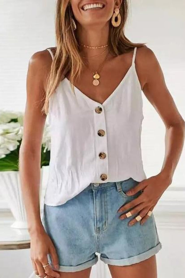 Spaghetti Strap V Neck Lace Up ButtonTop