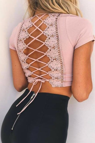 Valentina Lace Up Crop Top