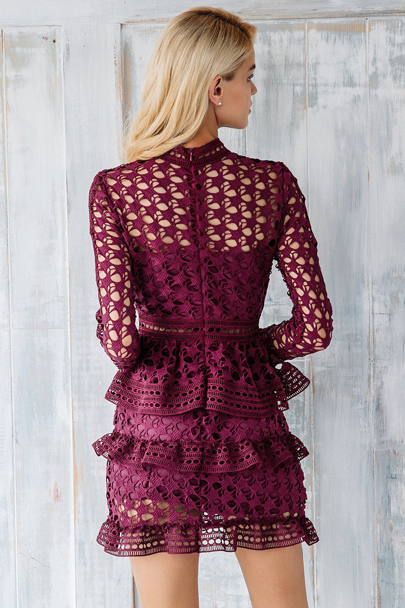 Long Sleeve Lace Cocktail Party Mini Dress