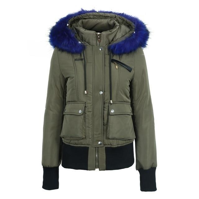 Croatia Faux Fur Hoodie Short Parkas Coat