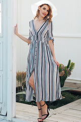 Neres Striped Slit Midi Dress