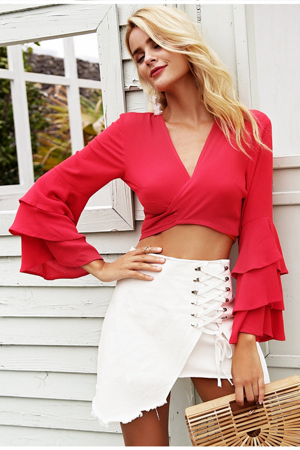 wrap crop top womens tops trendy womens top tiered ruffle top sexy top partytops party tops long sleeve wrap top long sleeve going out top long sleeve crop top long sleeve crop blouse going out top croptops cropped tops cropped blouse crop top outfits cheap crop tops