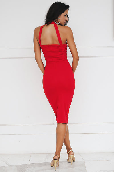 19d5f772f11 Bodycon Sashes Hollow Out Choker Midi Dress – We Wear It Better