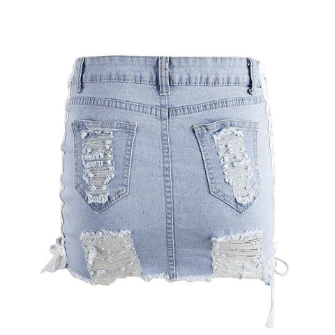 Lace Up Distressed Denim Skirt