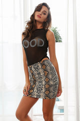 Bodycon High Waist Mini Skirt - Snake Print