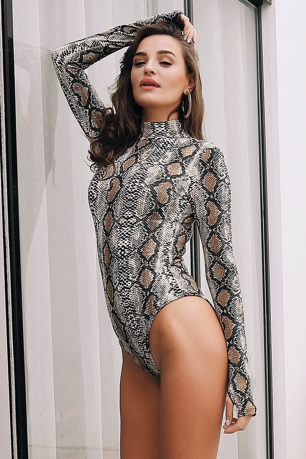 bodysuit for women turtleneck bodysuit turtleneck animal print ALLTOPS womens bodysuit Snakeskin long sleeve bodysuit bodysuits bodysuit