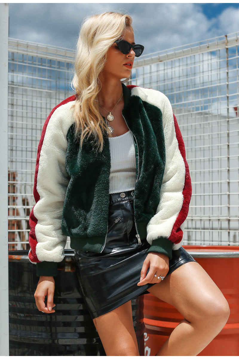 Womens Oversized Fuzzy Bomber Jacket winter womens bomber jacket thick winter jacket ladies winter coats jackets green bomber jacket cool bomber jacket coats bomber jacket womens bomber jacket women bomber jacket bomber coat ALLTOPS