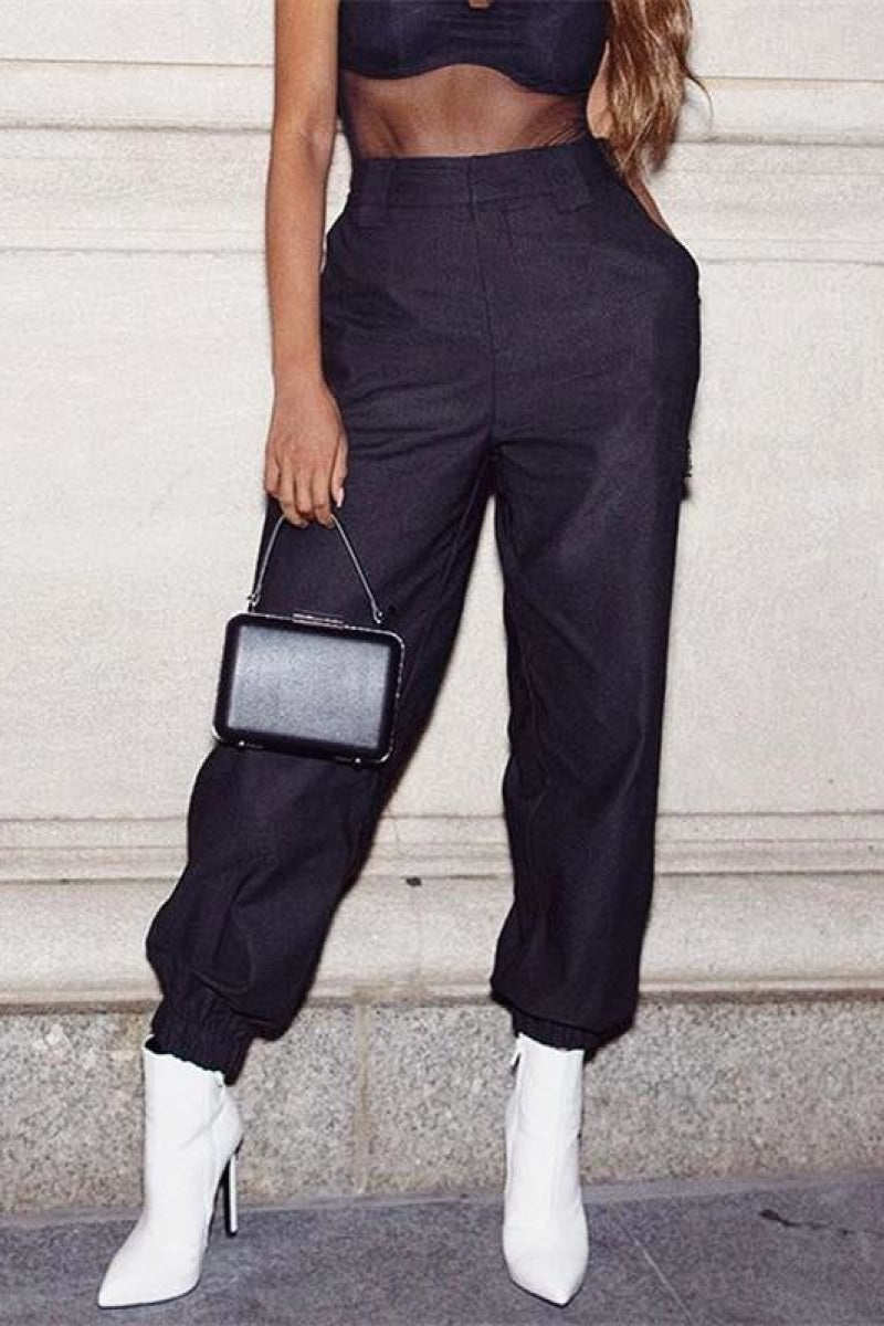 High Waist Ankle Cargo Pants