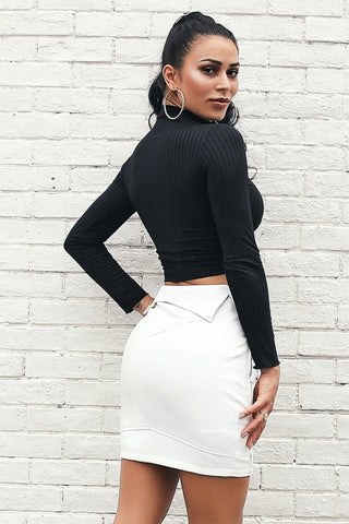 Turn-down Waist Vegan Leather Skirt