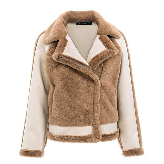 Womens Aviator Faux Fur Jacket thick winter coat fluffy coat faux leather winter jacket cool bomber jacket coats bomber jacket womens bomber jacket women bomber coat womens bomber coat aviator jacket womens ALLTOPS